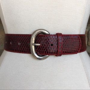 Vintage Belt M Leather Wide Snake Skin Red